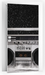 Naklejka na drzwi - 1980s Silver Retro ghetto blaster and dust isolated on black wit