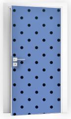 Naklejka na drzwi - wallpaper pattern black dots in pantone blue serenity color background