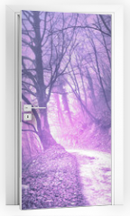Naklejka na drzwi - Magical foggy purple, serenity pantone color light in mystic forest with road.