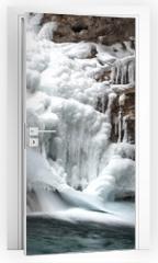 Naklejka na drzwi - Canyon Frozen Water Fall