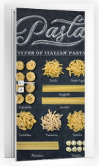 Naklejka na drzwi - Different types of Italian uncooked pasta on black slate stone background with white chalk lettering, top view.