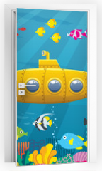 Naklejka na drzwi - Submarine Background / Cartoon yellow submarine underwater.