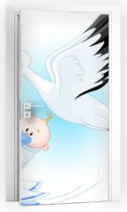 Naklejka na drzwi - Stork delivering a newborn baby boy
