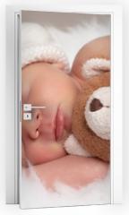 Naklejka na drzwi - sleeping newborn