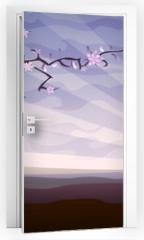 Naklejka na drzwi - Blooming tree and a starling