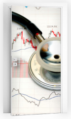 Naklejka na drzwi - stock chart analysis - concept