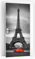 Naklejka na drzwi - Tour Eiffel et voiture rouge- Paris