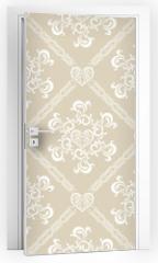 Naklejka na drzwi - Seamless White Floral Pattern