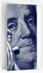 Naklejka na drzwi - watch and portrait of Benjamin Franklin on hundred Dollar bill