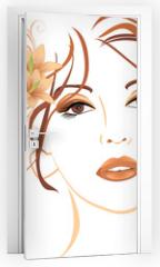 Naklejka na drzwi - Portrait of beautiful woman with lilies in hair