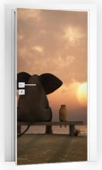 Naklejka na drzwi - elephant and dog sit on a summer beach