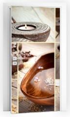 Naklejka na drzwi - Spa collage with magnolia flower