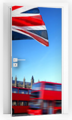 Naklejka na drzwi - Big Ben with city bus and flag of England, London