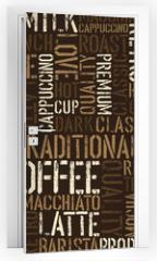 Naklejka na drzwi - Seamless coffee experience pattern. Vector, EPS8.