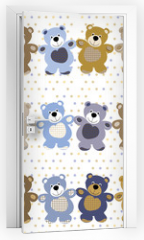 Naklejka na drzwi - vector seamless pattern of a toy teddy bear