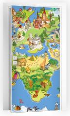 Naklejka na drzwi - Great and funny world map