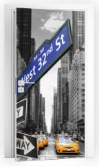 Naklejka na drzwi - Taxis à New York.