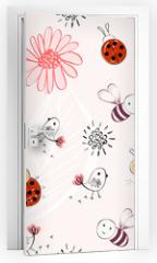Naklejka na drzwi - Sweet babies doodle hand draw seamless pattern.