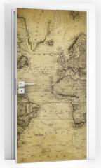 Naklejka na drzwi - vintage map of the world 1814..