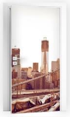Naklejka na drzwi - Brooklyn Bridge in New York