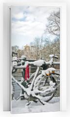 Naklejka na drzwi - Snowy Amsterdam in the Netherlands