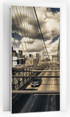 Naklejka na drzwi - Brooklyn Bridge view, New York City