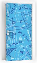 Naklejka na drzwi - Mathematics seamless pattern