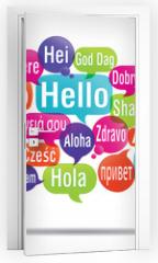 Naklejka na drzwi - nuage de mots bulles : bonjour traduction