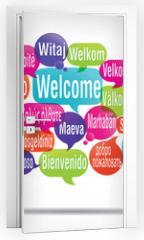 Naklejka na drzwi - nuage de mots bulles : bienvenue traduction