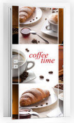 Naklejka na drzwi - coffee collage with different cups, coffee mill and croissant