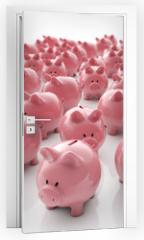 Naklejka na drzwi - Sparschweine Gruppe - Geld sparen / 3D Illustration