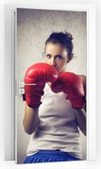 Naklejka na drzwi - boxer