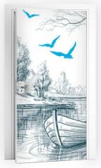 Naklejka na drzwi - Boat on river / delta vector sketch