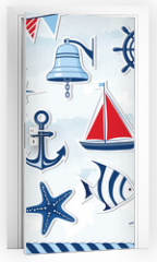 Naklejka na drzwi - Nautical design elements