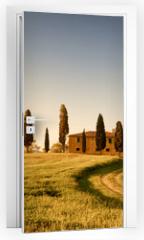 Naklejka na drzwi - Campo di Grano e Cipressi, Toscana