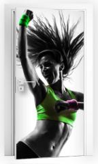 Naklejka na drzwi - woman exercising fitness zumba dancing silhouette
