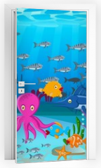 Naklejka na drzwi - Sea life cartoon background