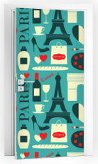 Naklejka na drzwi - Seamless Paris Background