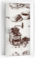 Naklejka na drzwi - pattern of coffee