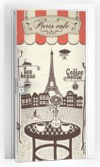 Naklejka na drzwi - Parisian street restaurant with views of the Eiffel Tower