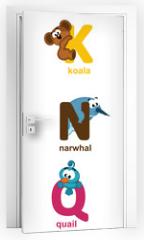 Naklejka na drzwi - alphabet animals from J to R - vector illustration