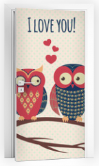 Naklejka na drzwi - Vector colorful illustration with two owls in love