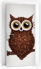 Naklejka na drzwi - Coffee owl.