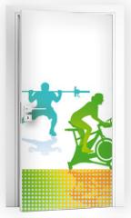Naklejka na drzwi - Fitness und Sport