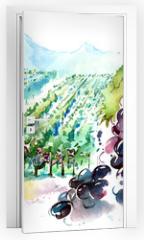 Naklejka na drzwi - vineyards