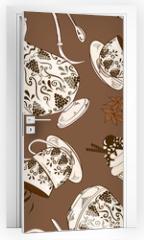 Naklejka na drzwi - Seamless pattern of coffee service