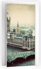 Naklejka na drzwi - London, the UK. Big Ben, the Palace of Westminster. Vintage
