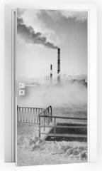 Naklejka na drzwi - vapor above pool of tratment plant