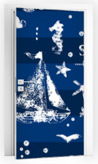 Naklejka na drzwi - White print boat and fishes on navy blueseamless pattern