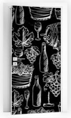 Naklejka na drzwi - Wine seamless pattern drawn by chalk.